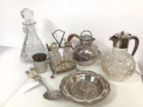 An assortment of Epns and glassware including condiment set on stand, wine jug, decanter, teapot and
