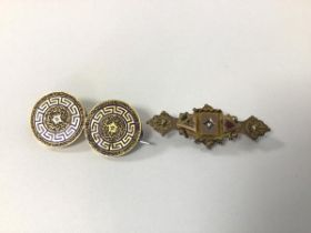 Two 18ct gold 19thc. enamelled earrings (4cm), altered and connected to brooch and a 9ct gold bar