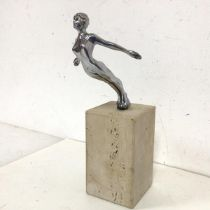 A 1930s/40s Desmo Speed Nymph car mascot, inscribed Desmo to base of figure, on stone plinth (with