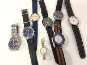 A collection of gentleman's wristwatches, including Seiko, Rotary, Soki, Fuyate and a lady's