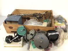 Fishing interest: a collection of fishing equipment including reels such as Windex, JW. Young & Sons