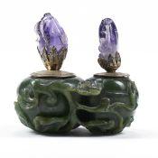 Edward Farmer Style Chinese Jade & Amethyst Silver Inkwell