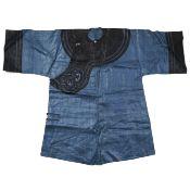 19th C. Chinese Blue Silk Robe w/ Black Collar