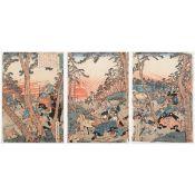Utagawa Sadahide Triptych Japanese Woodblock Print