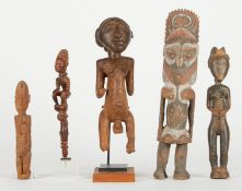 Grp: 5 20th c. African Carved Wood Figures