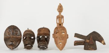 Grp: 5 20th c. African Carved Masks