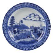 "17th c. Blue & White ""Deshima Island"" Pattern Pottery Plate"