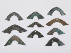 Grp: 10 Early Chinese Zhou Huang Bronze Bridge Money