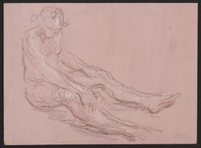 Paul Cadmus Seated Nude Male Figure Crayon on Paper Board