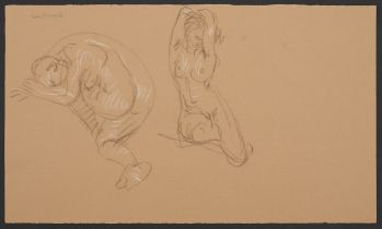 Paul Cadmus Double Female Nude Study Crayon on Paper