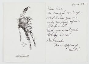 Olaf Wiegehorst Pen and Ink Portrait of Native American Drawing