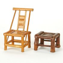 Miniature Bamboo Chair and Stand