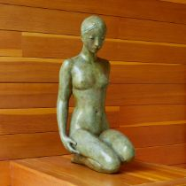 Life Size Coquillay Bronze Sculpture of a Kneeling Woman
