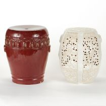 Grp 2: White and Red Ceramic Garden Stools