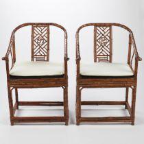 Pair of Chinese Bound Bamboo Chairs
