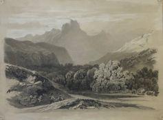 Unbekannter   Künstler, Wanderer  in  den   Bergen