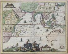 """Hugo  Allardt, Kupferstich - Karte  """"India  Orientalis"""""""