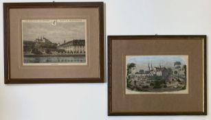 Zwei   Holzstiche  mit   Bamberg - Ansichten