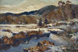 Robert   Trätzl, Winterlandschaft  mit   Bachlauf