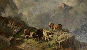 Christian   Friedrich   Mali, Weidende   Kühe  im  sommerlichen   Hochgebirge
