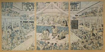 Utagawa  Toyokuni,  Aufführung  im   Kabuki - Theater  in  Edo