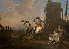 Abraham Hondius, Jagdgesellschaft mit Falke und Uhu beim Aufbruch zur Beizjagd