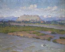 Sergej   Ivanowitsch  Picugin   (Ivanovich  Pichugin),  Russische   Landschaft  mit  Dorf  am  Fluß
