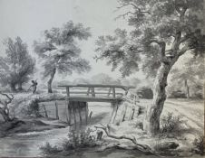 W. Roell, Holzbrücke  in   niederländischer   Landschaft