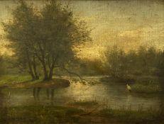 Mary  Amanda   Lewis  (?), Teichlandschaft  mit   Storch