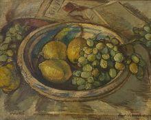 Kurt  Haase   Jastrow, Tischstillleben  mit  Trauben, Zitronen  und   Birne