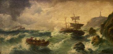 A. Cavalo, Drohender   Schiffbruch  an  stürmischer   Felsenküste