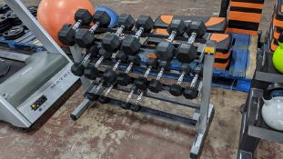 Dumbbell set & rack comprising 9 pairs of dumbbells (1, 2, 3, 4, 5, 6, 8, 9 & 10kg), i.e. 18 dumbbel