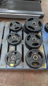 Quantity of Jordan weight plates comprising 5 off 5kg, 5 off 10kg & 4 off 15kg discs - as pictured i