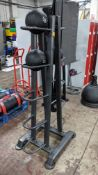 Physical Company weighted ball rack capable of holding 10 balls plus 3 off slam balls in sizes 6, 7
