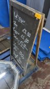 Blackboard A frame, max external measurements circa 1m x 0.4m