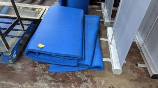 3 off blue foam exercise mats, each measuring approximately 2m x 1m
