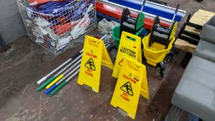 Quantity of cleaning equipment comprising 2 off Jangro mobile mop buckets with squeegee attachments