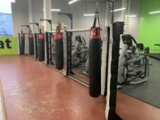 5 Torpex hanging punch bags including floor standing frames & other equipment.