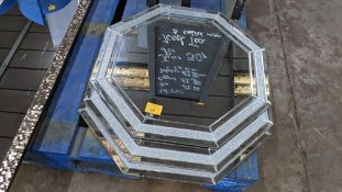 3 off octagonal mirrors with sparkly & bevelled edging strips, each mirror being approximately 600mm