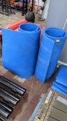 2 off blue roll up foam exercise mats, each measuring 2m x 1m