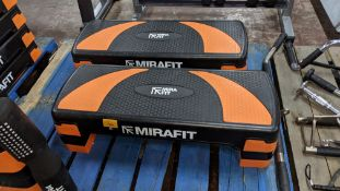 2 off Mira Fit aerobic exercise step / steppers, in each instance including 2 orange & 2 black feet