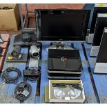 Quantity of Polycom video conferencing equipment including cameras, base units, monitor & more