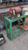Floor standing twin grinding wheels on dedicated stand