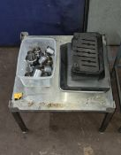 Metal stand, quantity of jugs & other miscellaneous items as pictured