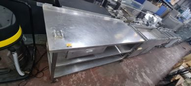 Large 3-tier stainless steel mobile table with splashback, max external dimensions circa 1830 x 760