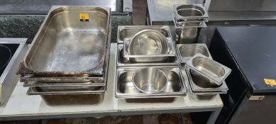 Quantity of assorted stainless steel trays & dishes