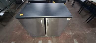 Gamko large black & brushed chrome twin door back bar/bottle fridge