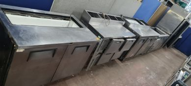 4 off assorted stainless steel refrigerated prep cabinets