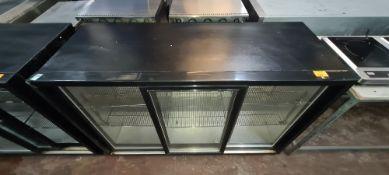 Black triple clear sliding door back bar/bottle fridge
