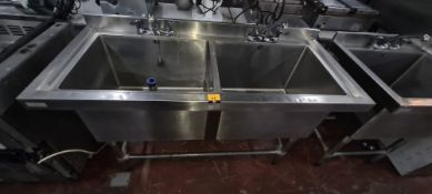 Vogue floor standing stainless steel twin basin sink each with its own mixer tap